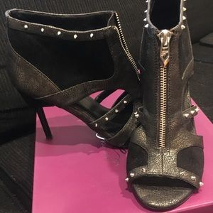 Fergalicious Shoes - Fergie Black Suede/Leather Spiked Open Toe Sandals